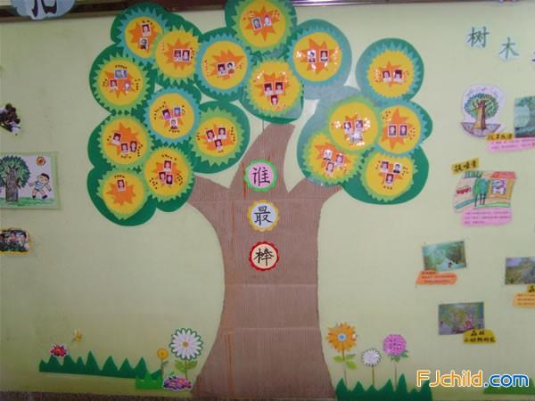 厦门市同安区兴国幼儿园主题墙饰:棒棒树